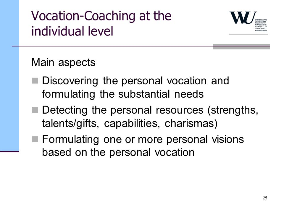 Vocation-Coaching at the individual level