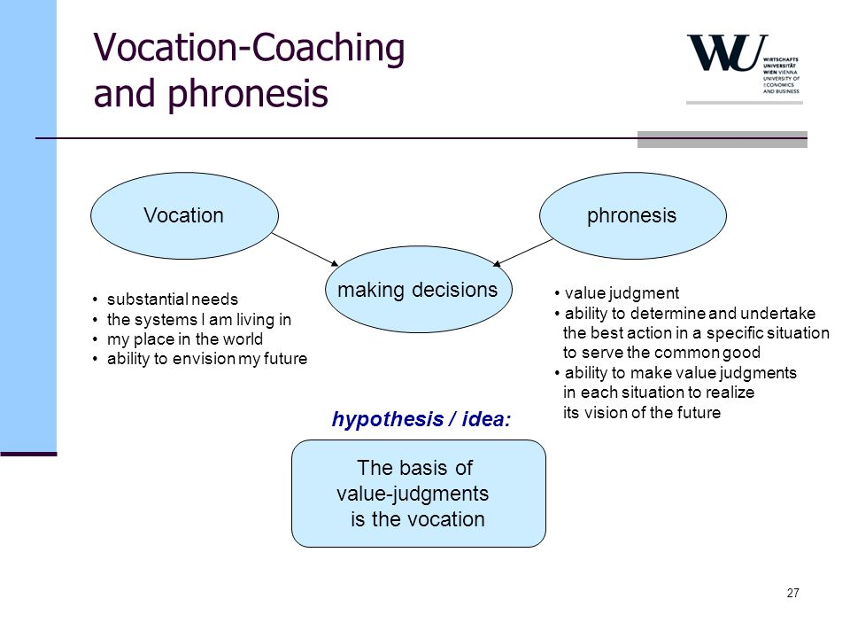 Vocation-Coaching and phronesis