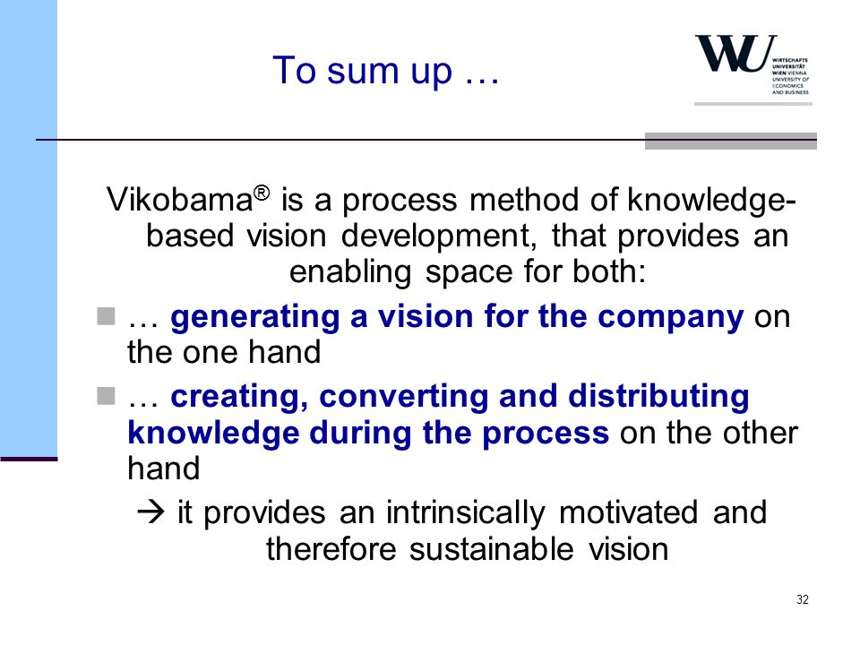 To sum up …Vikobama® is a process method of knowledge-based vision development, that provides an enabling space for both: