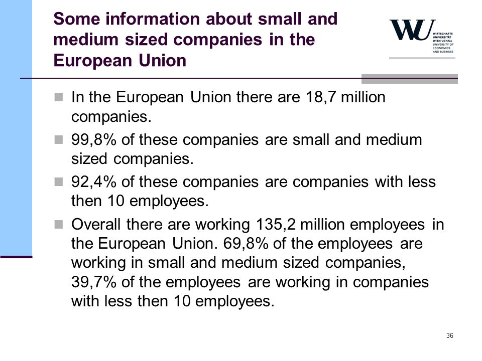Some information about small and medium sized companies in the European Union