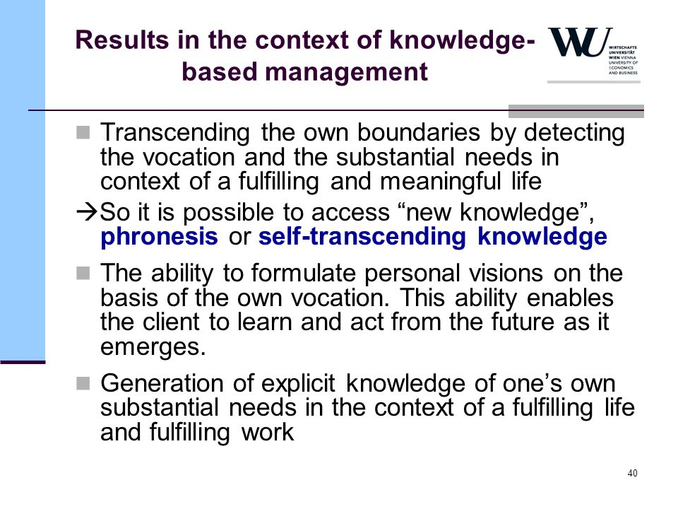 Results in the context of knowledge-based management