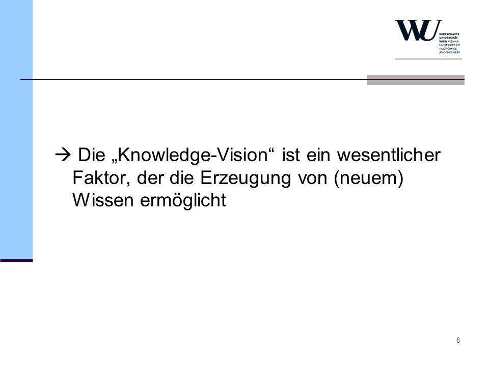 """ Die """"Knowledge-Vision ist ein wesentlicher Faktor, der die Erzeugung von (neuem) Wissen ermöglicht"""