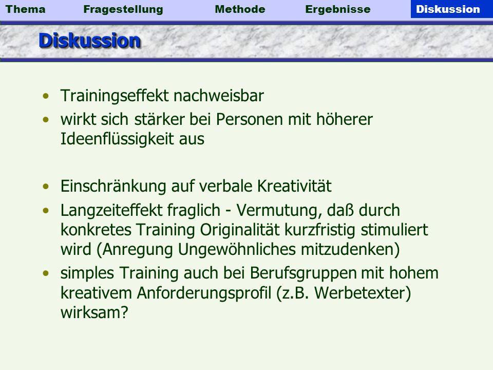 Diskussion Trainingseffekt nachweisbar