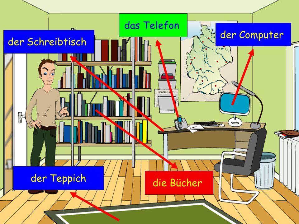 das Telefon der Computer der Schreibtisch der Teppich die Bücher