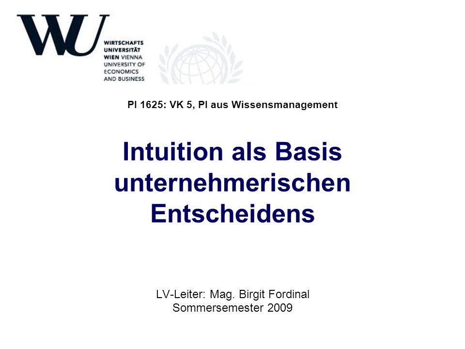 LV-Leiter: Mag. Birgit Fordinal Sommersemester 2009