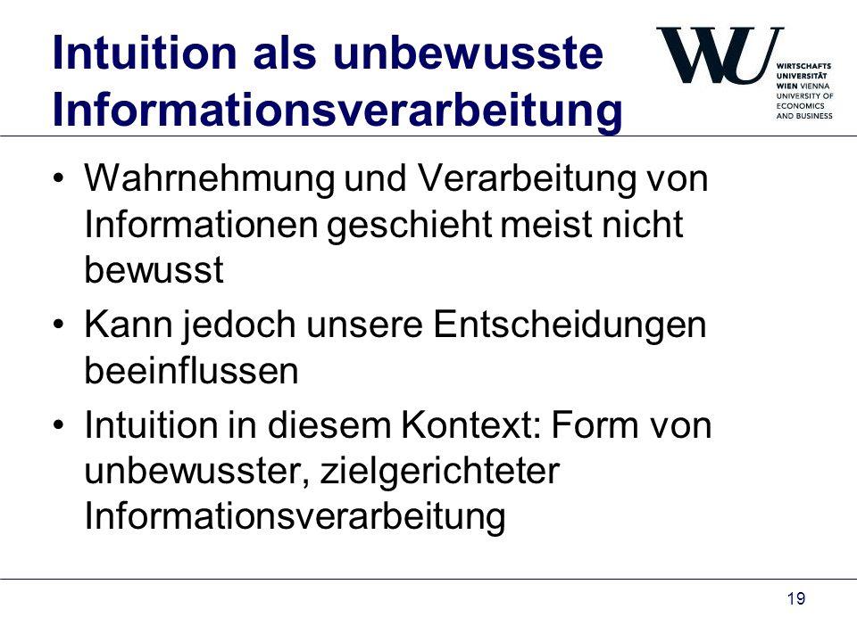 Intuition als unbewusste Informationsverarbeitung