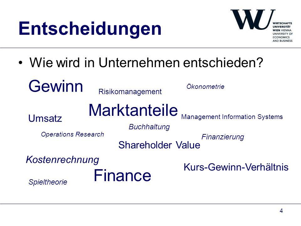 Entscheidungen Gewinn Marktanteile Finance