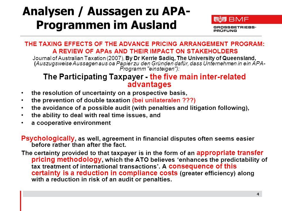 Analysen / Aussagen zu APA-Programmen im Ausland