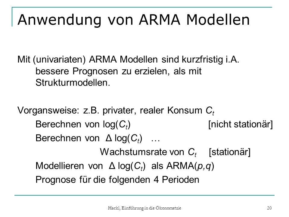 Anwendung von ARMA Modellen