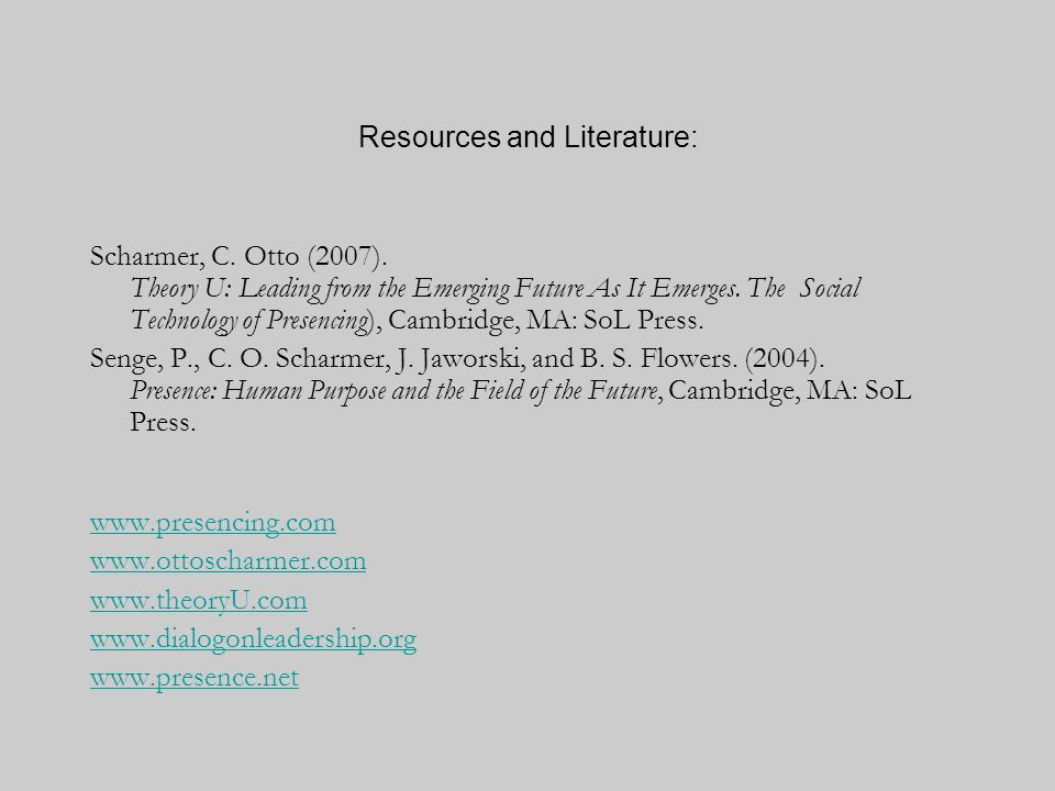 Resources and Literature: