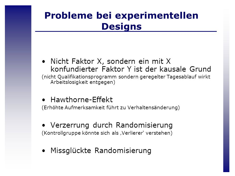 Probleme bei experimentellen Designs