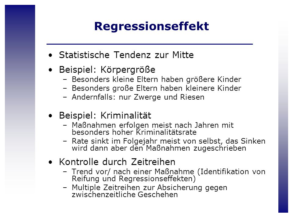 Regressionseffekt Statistische Tendenz zur Mitte Beispiel: Körpergröße