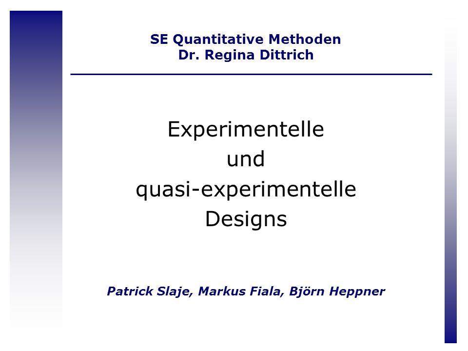 SE Quantitative Methoden Dr. Regina Dittrich
