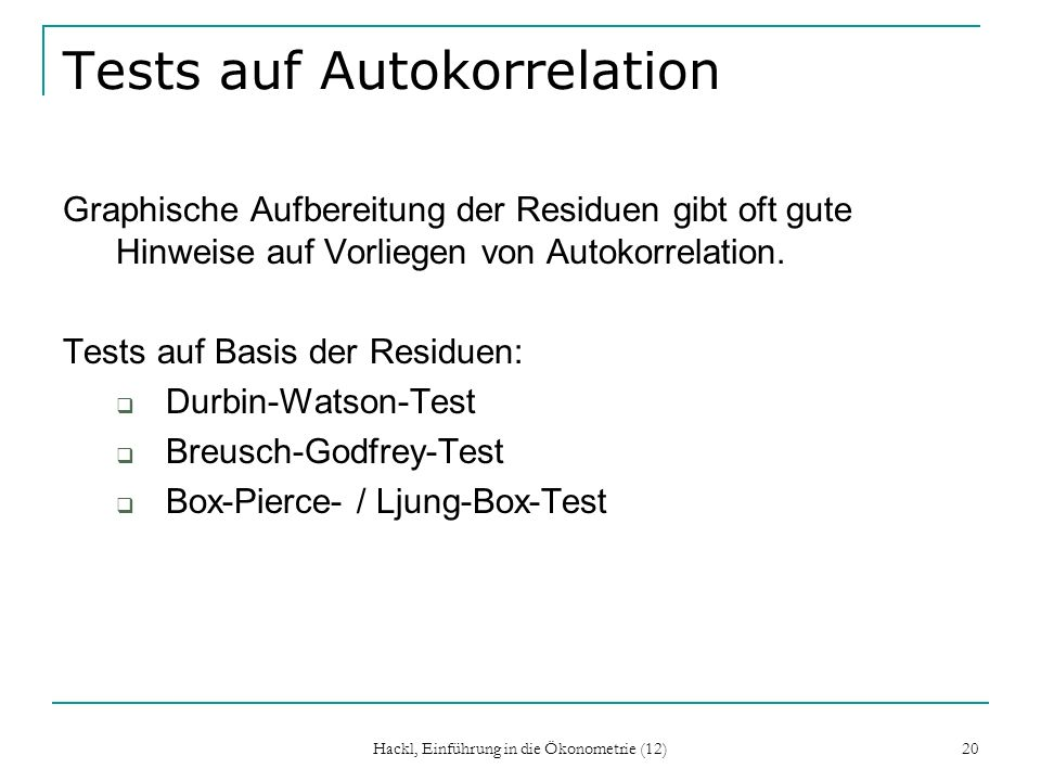 Tests auf Autokorrelation