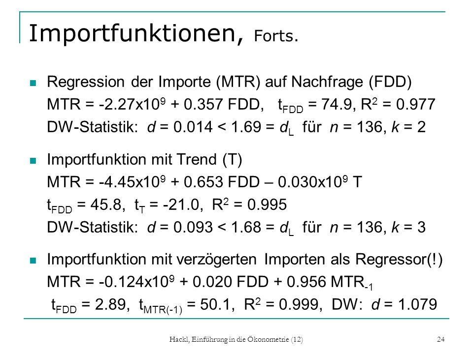 Importfunktionen, Forts.