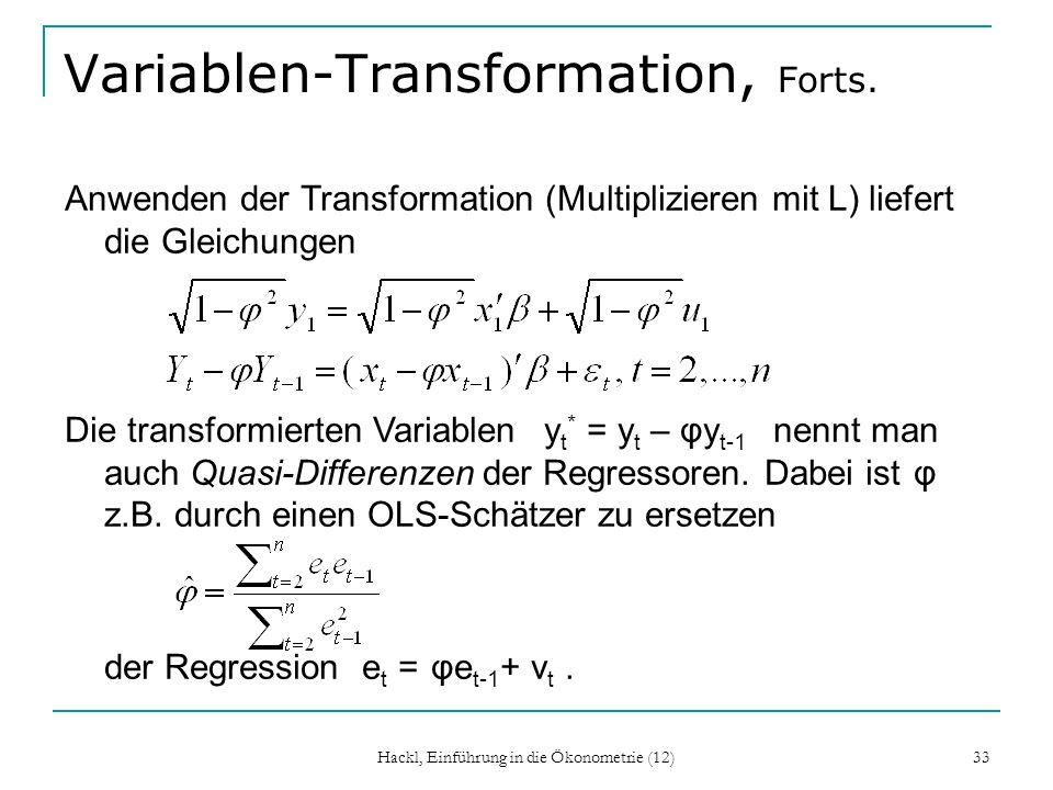 Variablen-Transformation, Forts.