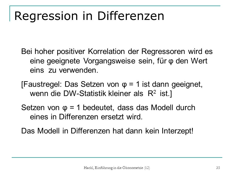 Regression in Differenzen