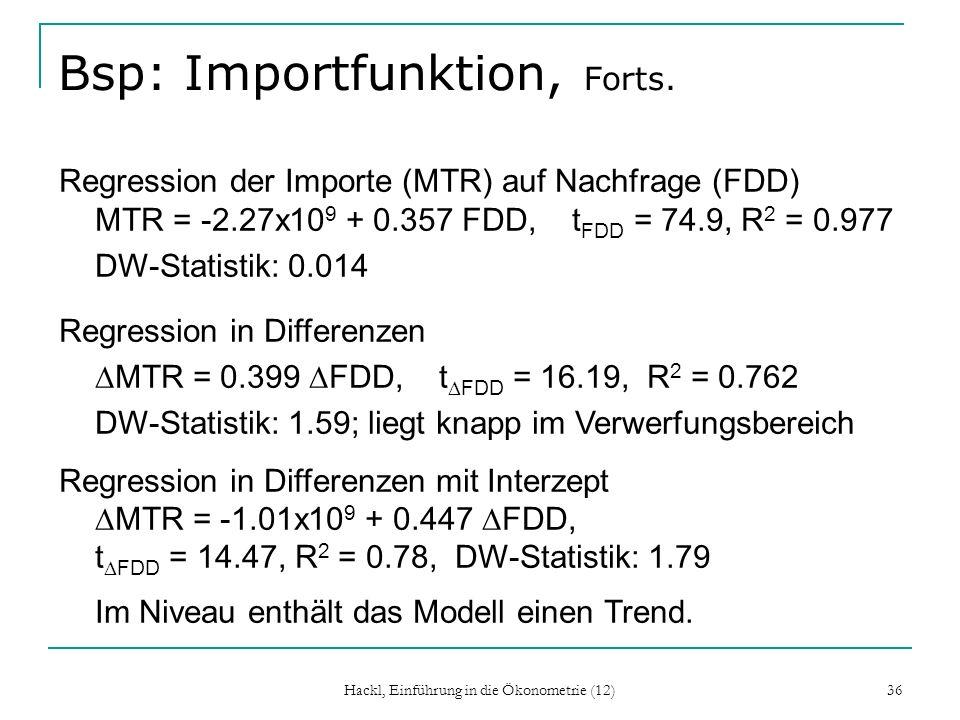 Bsp: Importfunktion, Forts.