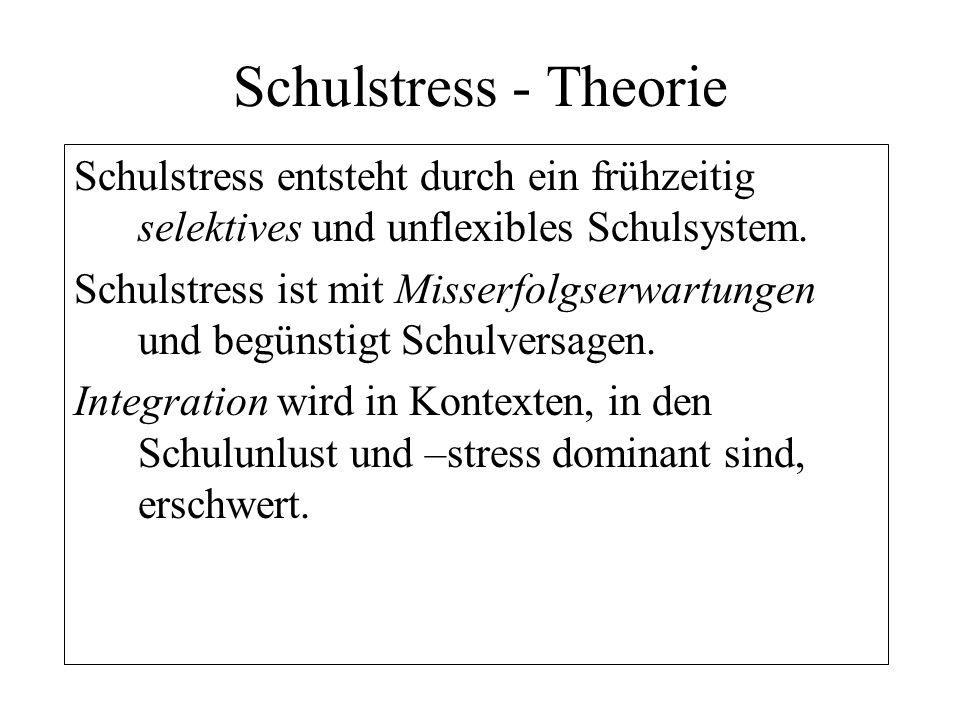Schulstress - Theorie Schulstress entsteht durch ein frühzeitig selektives und unflexibles Schulsystem.