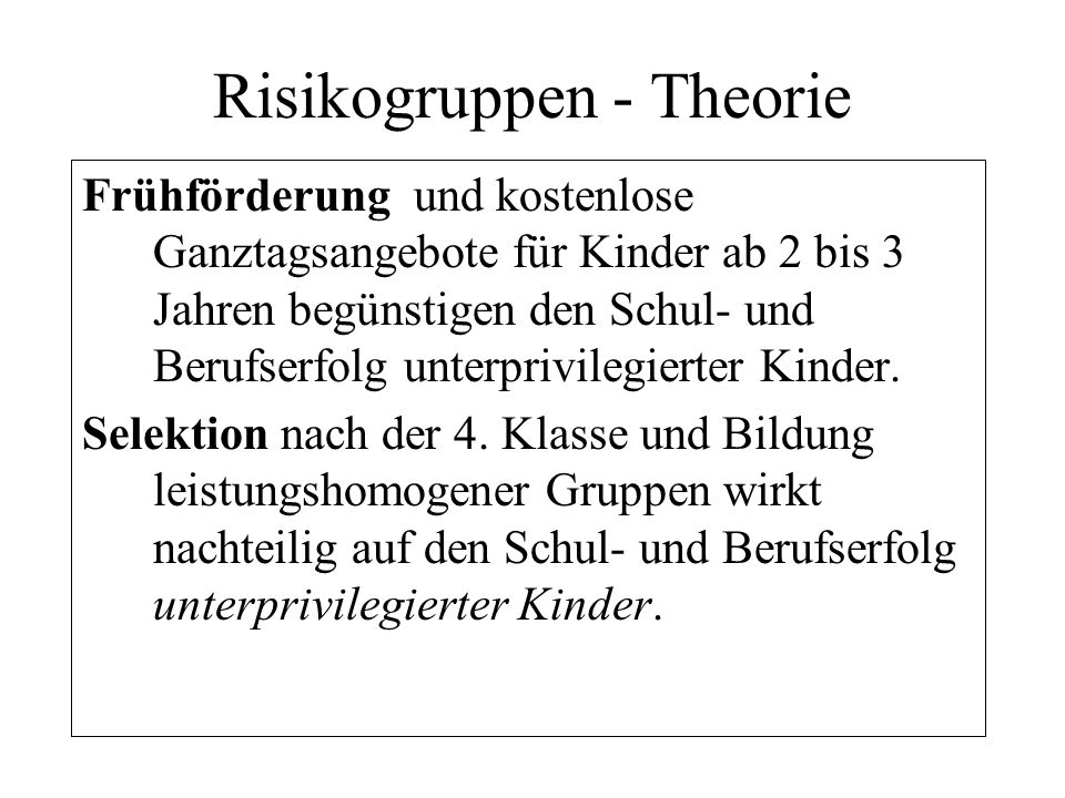 Risikogruppen - Theorie