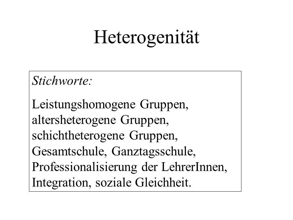 Heterogenität Stichworte: