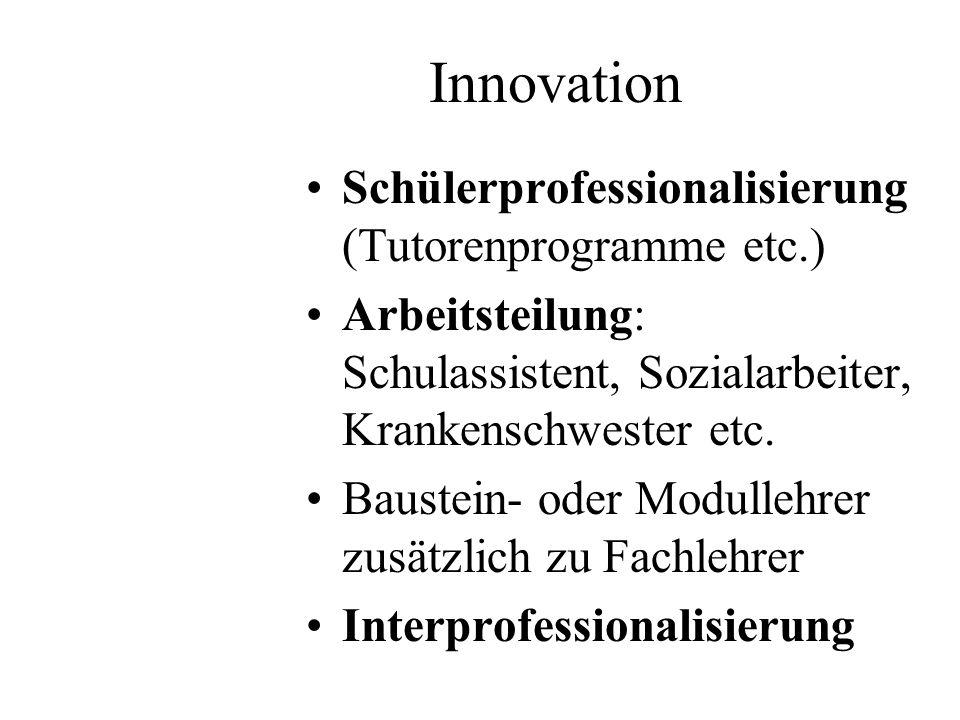 Innovation Schülerprofessionalisierung (Tutorenprogramme etc.)
