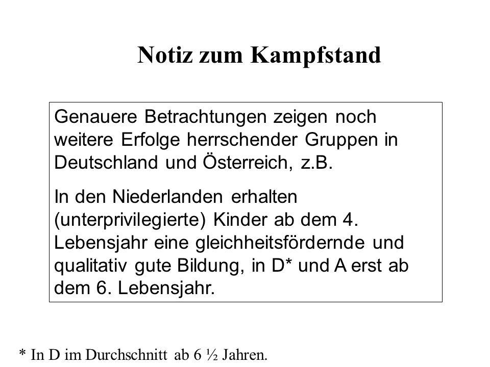 Notiz zum Kampfstand Genauere Betrachtungen zeigen noch weitere Erfolge herrschender Gruppen in Deutschland und Österreich, z.B.