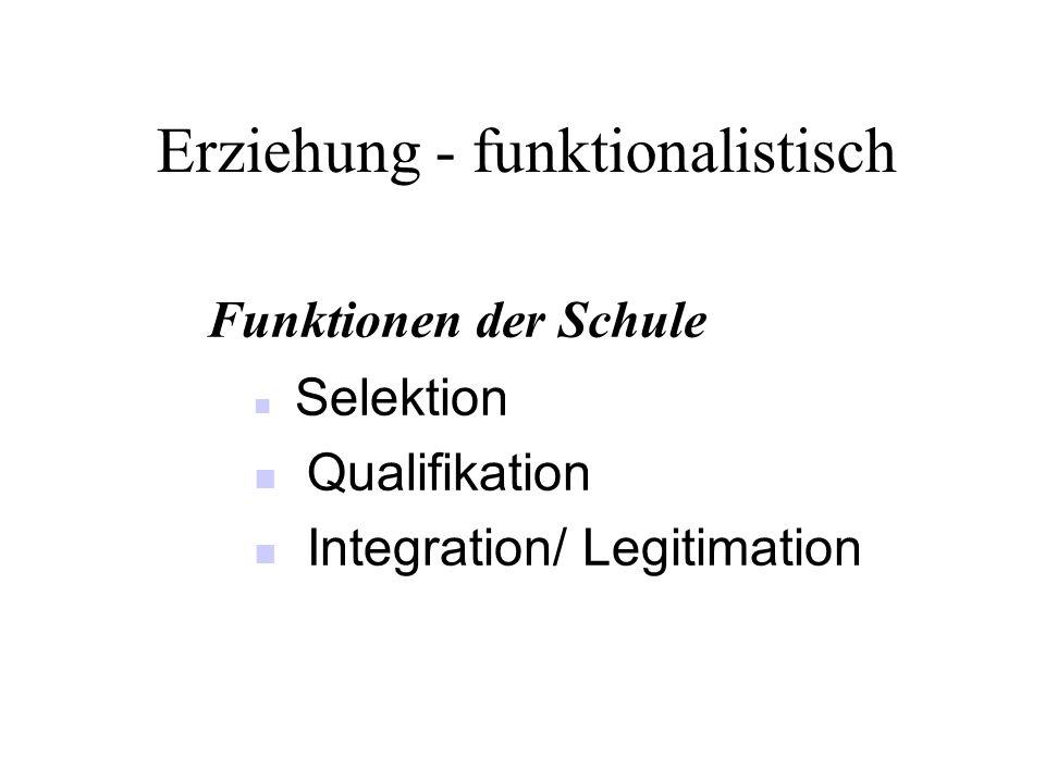 Erziehung - funktionalistisch