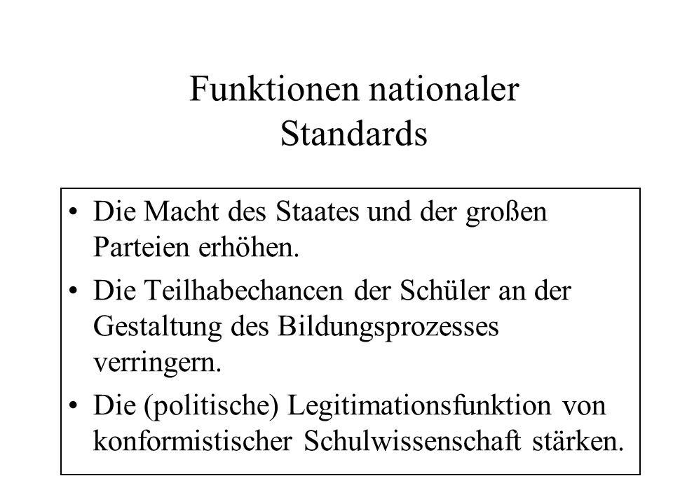 Funktionen nationaler Standards