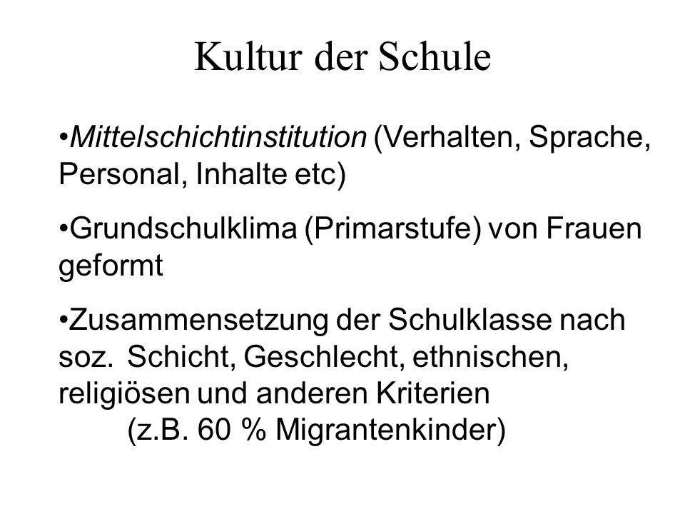 Kultur der Schule Mittelschichtinstitution (Verhalten, Sprache, Personal, Inhalte etc) Grundschulklima (Primarstufe) von Frauen geformt.