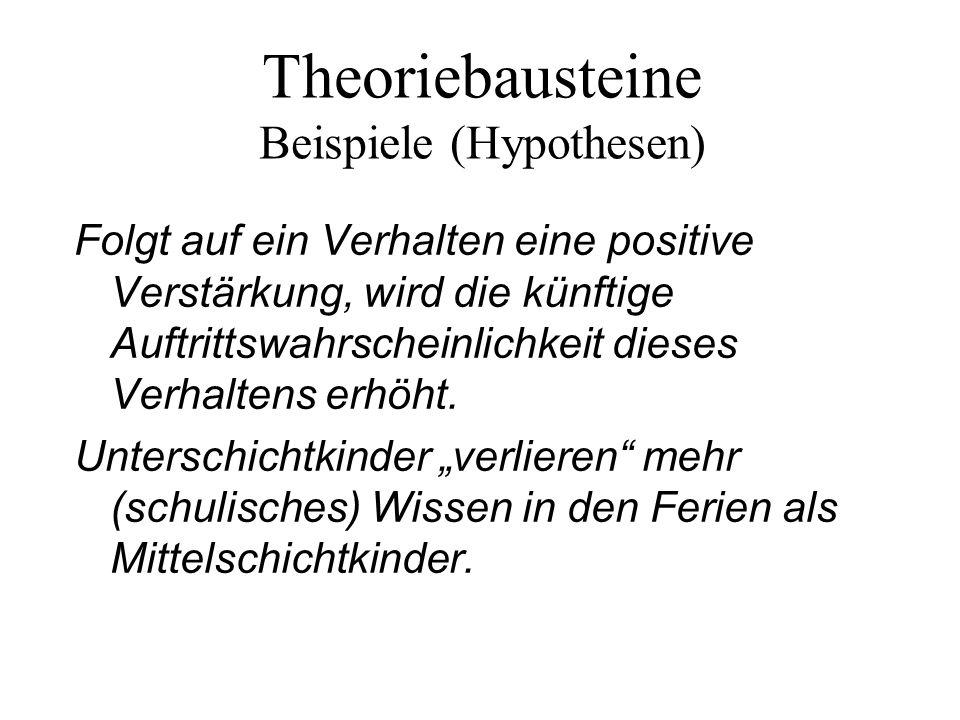 Theoriebausteine Beispiele (Hypothesen)