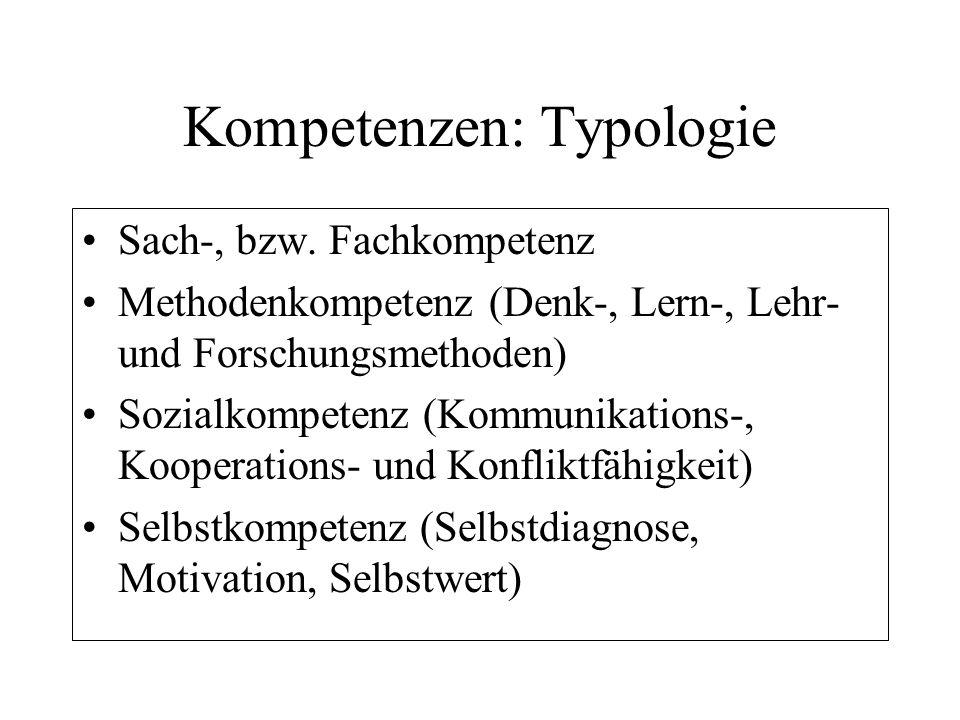 Kompetenzen: Typologie