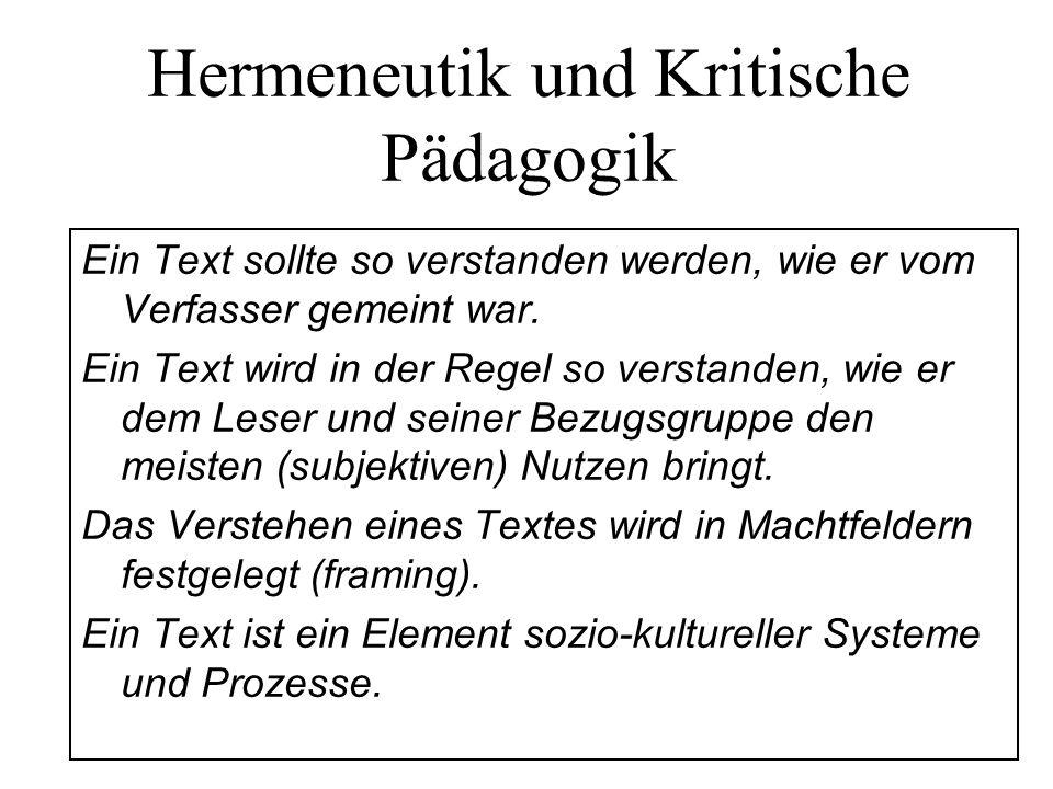 Hermeneutik und Kritische Pädagogik