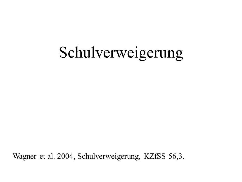 Schulverweigerung Wagner et al. 2004, Schulverweigerung, KZfSS 56,3.