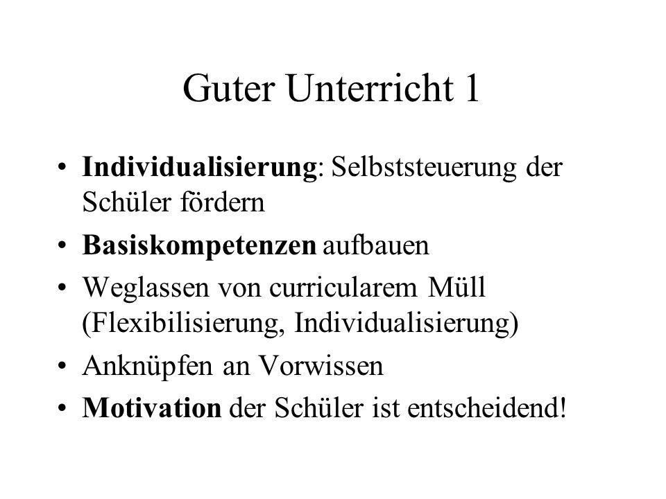 Guter Unterricht 1 Individualisierung: Selbststeuerung der Schüler fördern. Basiskompetenzen aufbauen.