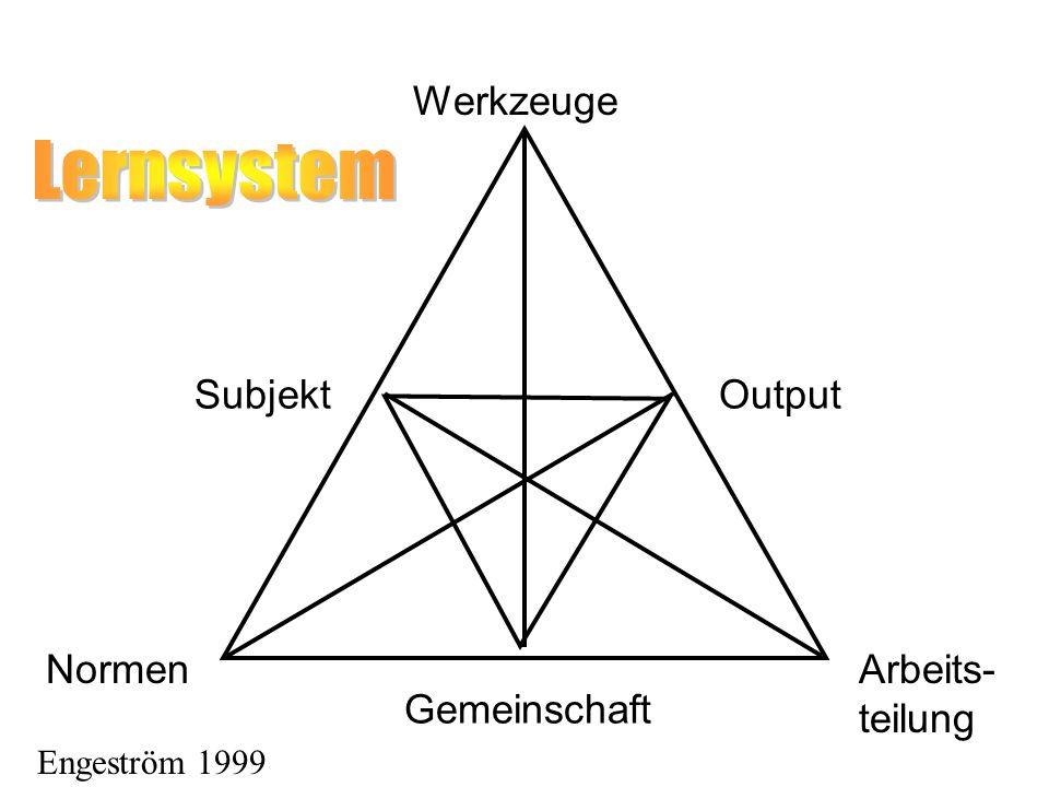 Lernsystem Werkzeuge Subjekt Output Normen Arbeits- teilung