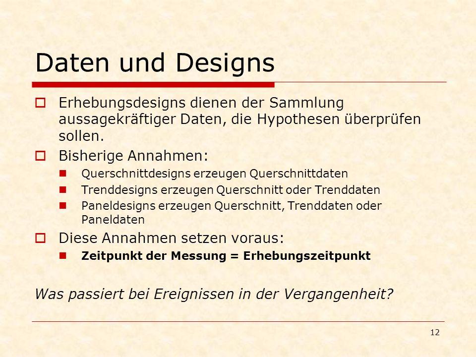 Daten und Designs Erhebungsdesigns dienen der Sammlung aussagekräftiger Daten, die Hypothesen überprüfen sollen.