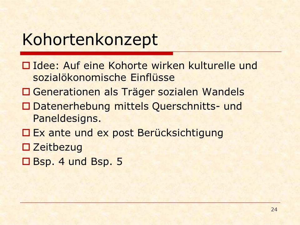 KohortenkonzeptIdee: Auf eine Kohorte wirken kulturelle und sozialökonomische Einflüsse. Generationen als Träger sozialen Wandels.