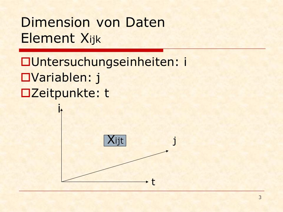 Dimension von Daten Element Xijk