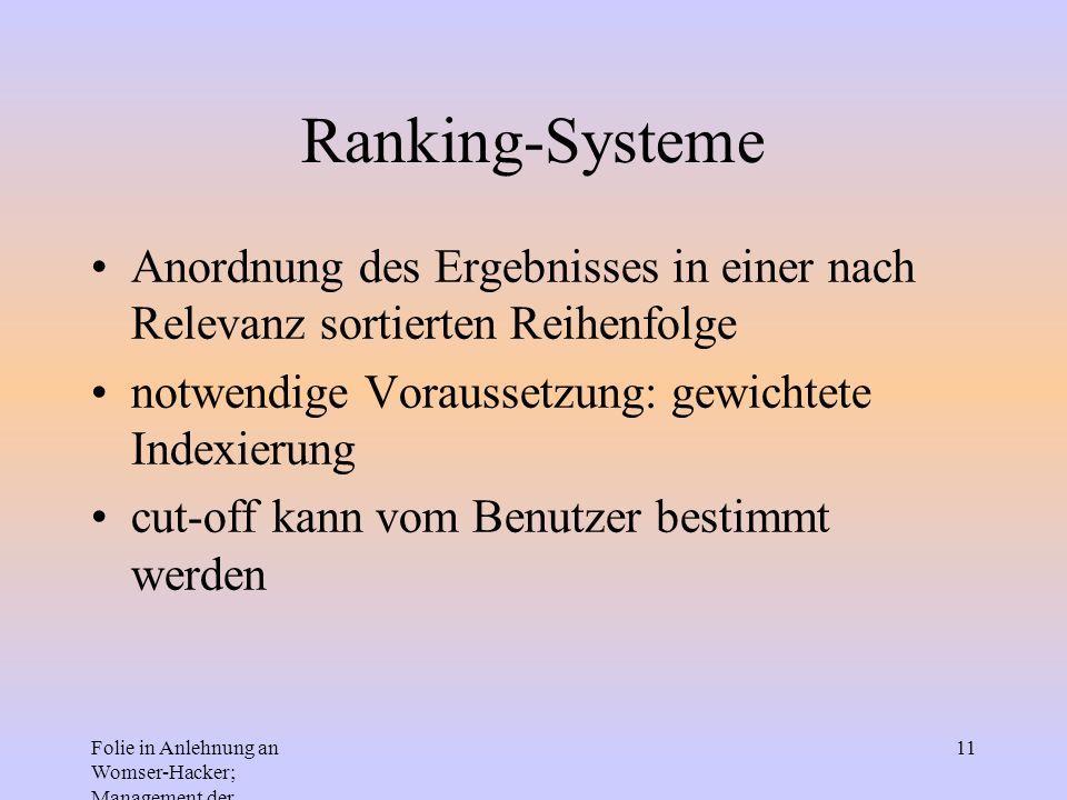 Ranking-Systeme Anordnung des Ergebnisses in einer nach Relevanz sortierten Reihenfolge. notwendige Voraussetzung: gewichtete Indexierung.
