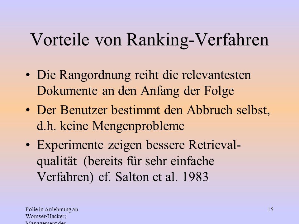 Vorteile von Ranking-Verfahren