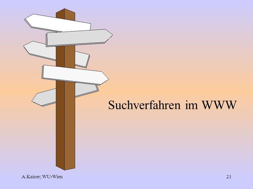Suchverfahren im WWW A.Kaiser; WU-Wien