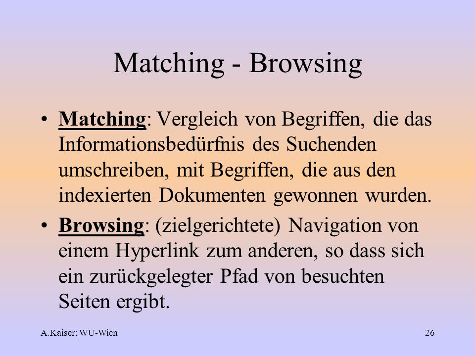 Matching - Browsing