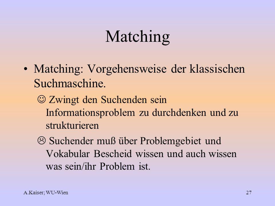 Matching Matching: Vorgehensweise der klassischen Suchmaschine.