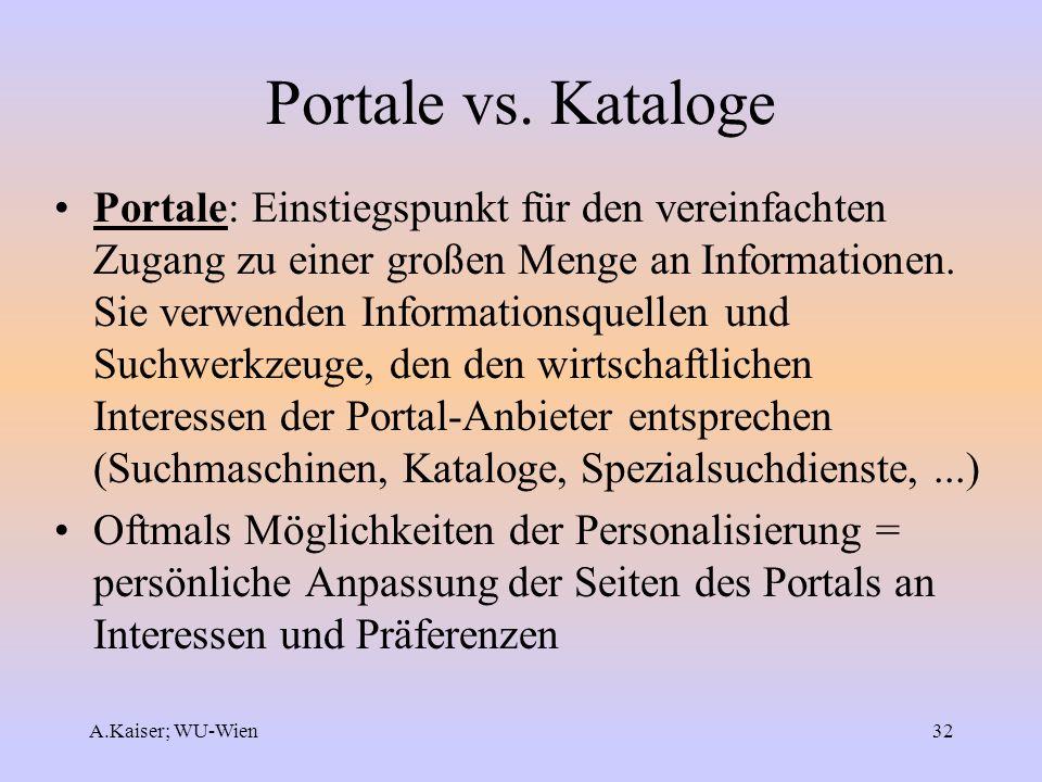 Portale vs. Kataloge