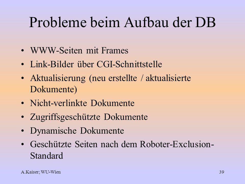 Probleme beim Aufbau der DB