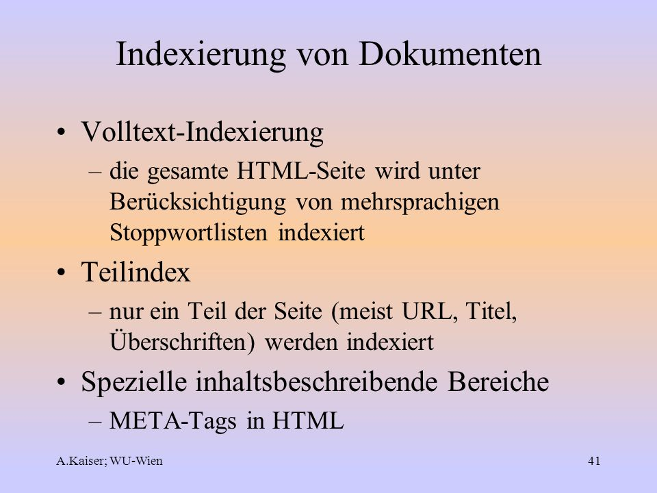 Indexierung von Dokumenten
