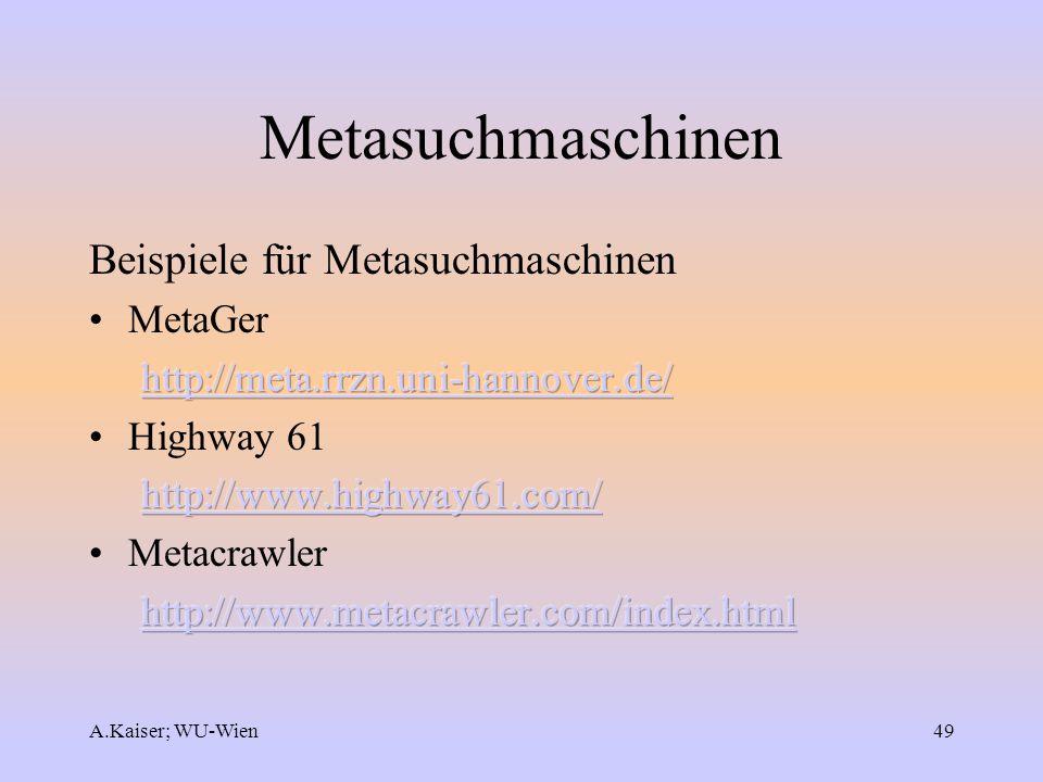 Metasuchmaschinen Beispiele für Metasuchmaschinen MetaGer