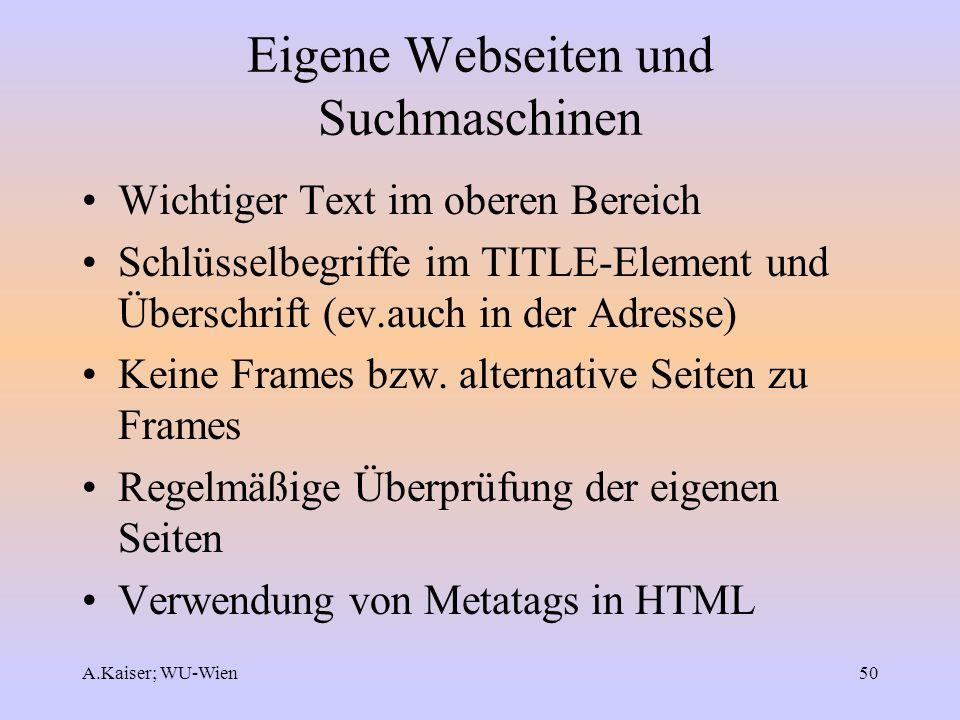 Eigene Webseiten und Suchmaschinen