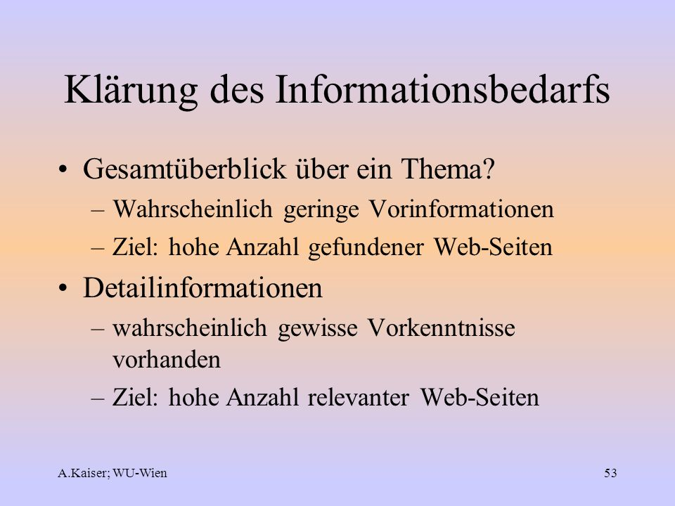 Klärung des Informationsbedarfs